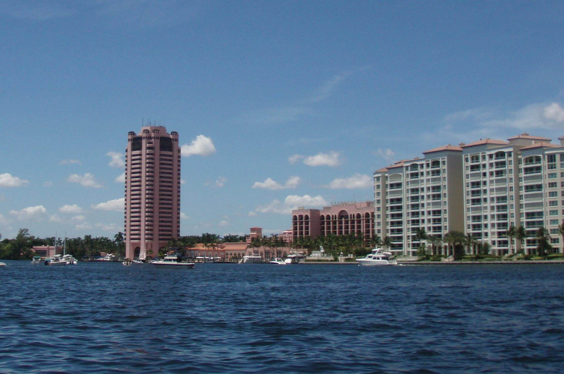 An image of Boca Raton from the water on Lake Boca. Home of the South Florida Lawyers at ASR Law Firm.