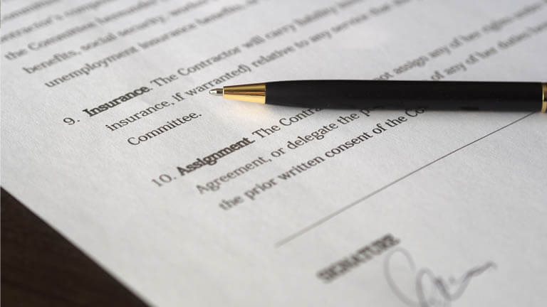 Image of a business contract that illustrates ASR Law Firm Florida business lawyer services including the development of contracts and agreements.