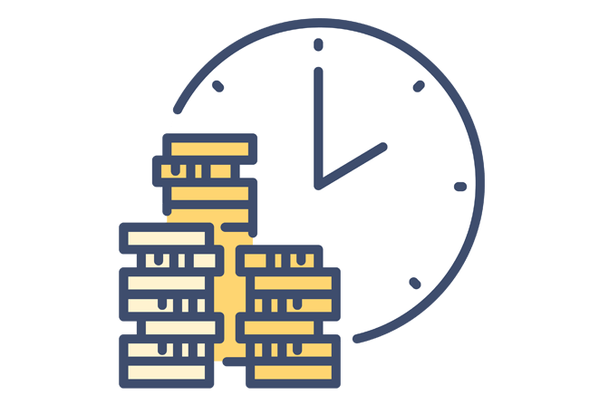 Image of an estate planning icon with money and time that links to the comprehensive Estate Planning Law Services from Boca Raton Law Firm, ASR Law Firm.