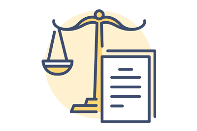 An image of a document with scales of justice icon representing common law trademarks.