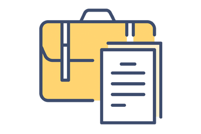 An image of a briefcase and documents icon that represents international trademarks.