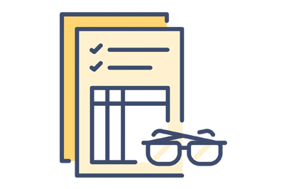 An image of a document with reading glasses over it in an icon format that represents state trademarks.